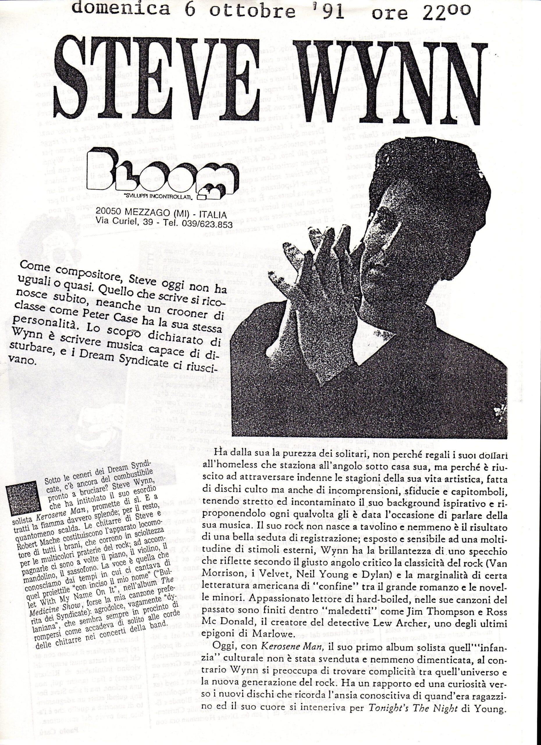 Volantino fotocopiato del concerto di Steve Wynn. 1991