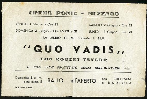 Locandina pubblicitaria del cinema. Sullo schermo Quo vadis? film colossal del 1951
