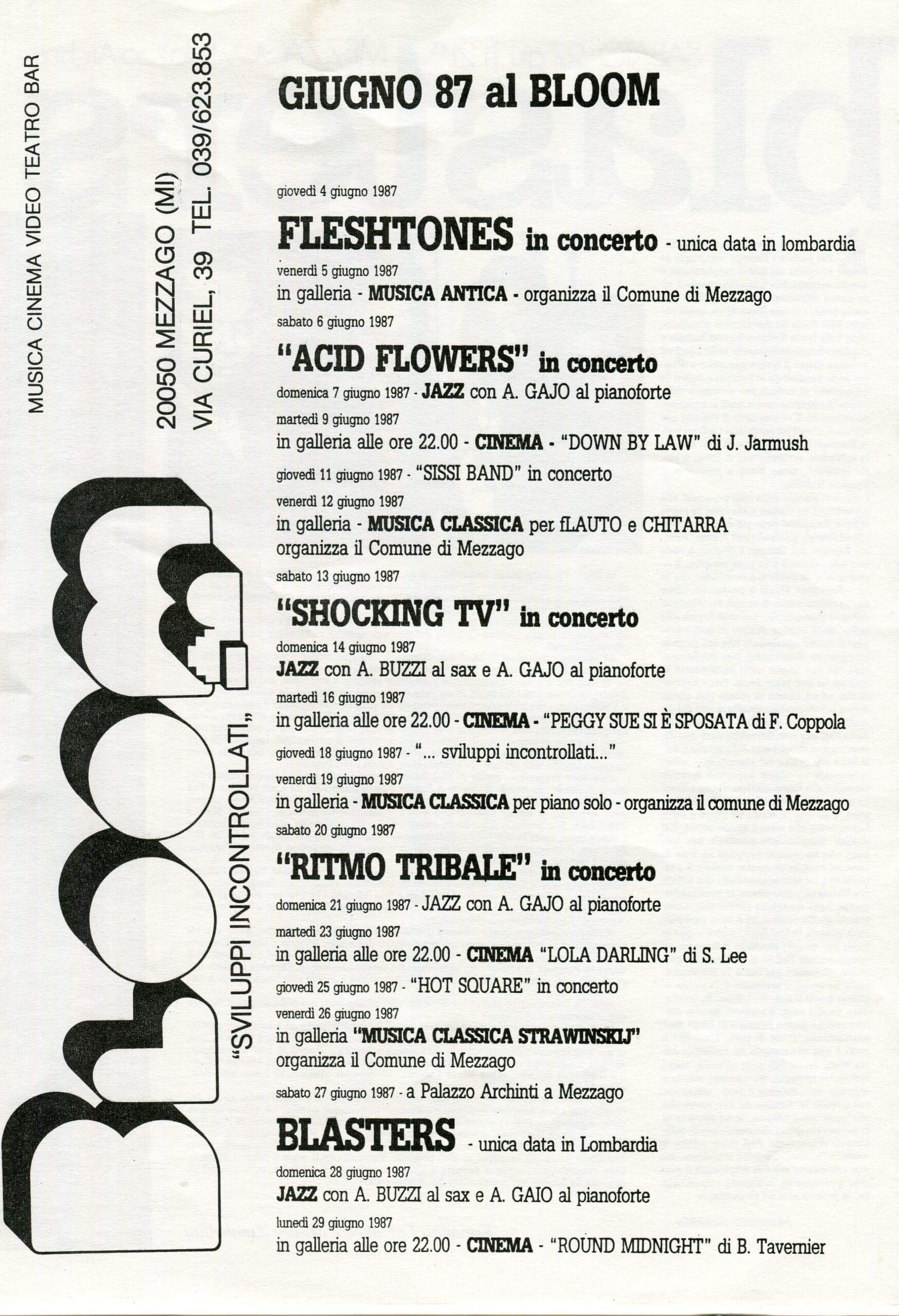 Il programma di giugno, primo mese intero di attività. 1987