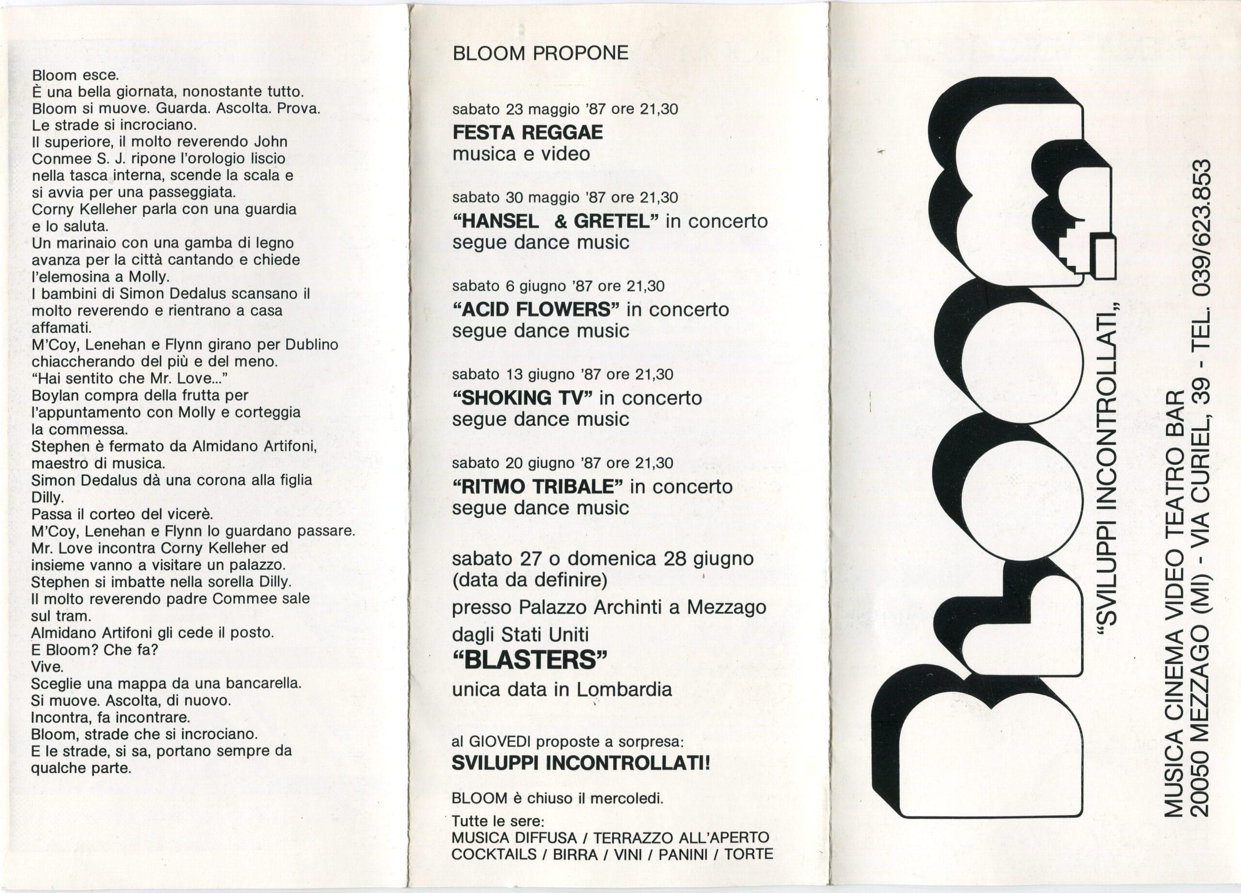 Primo pieghevole. Interno. 1987