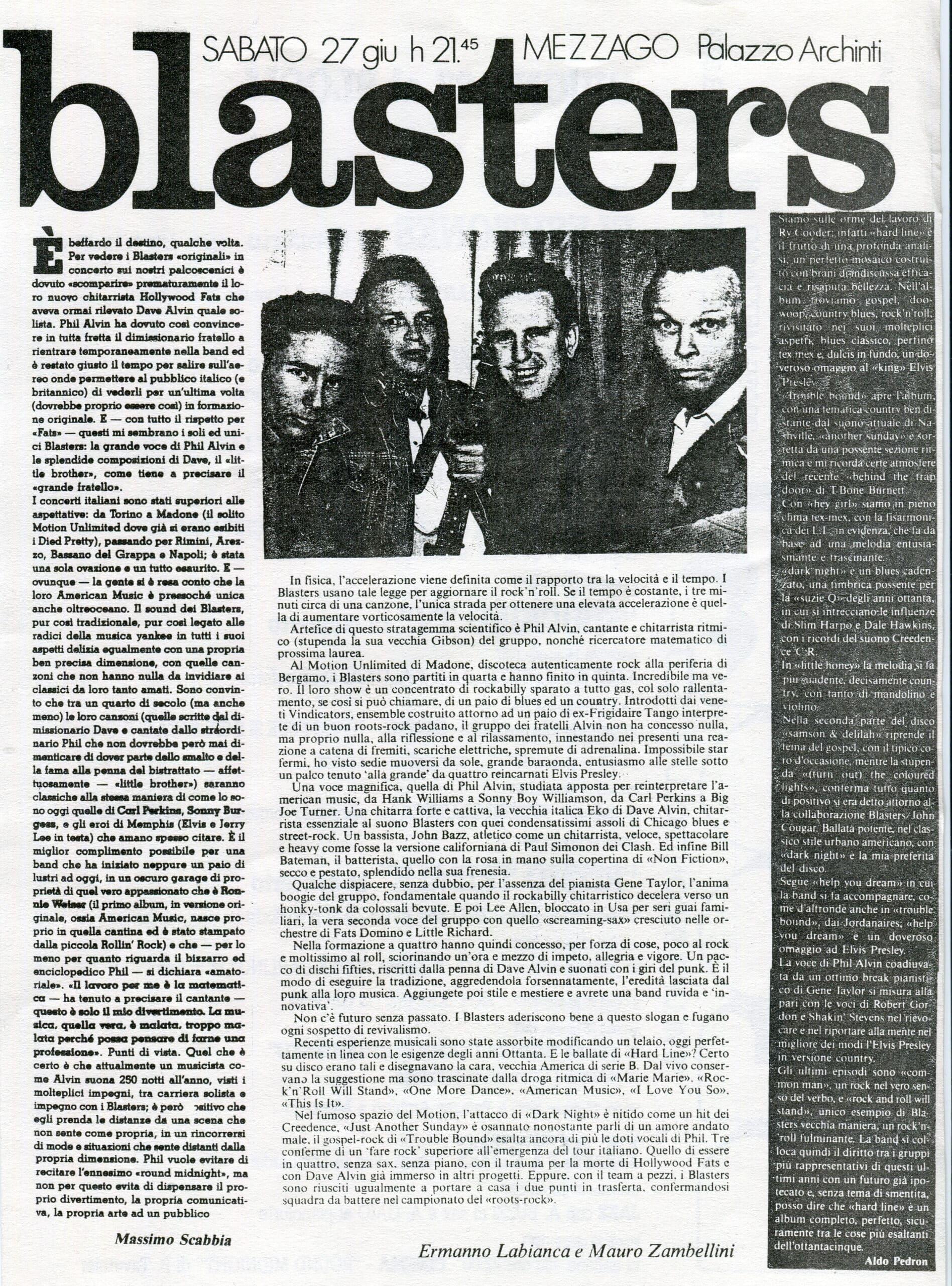 Volantino fotocopiato del concerto dei Blasters. 1987