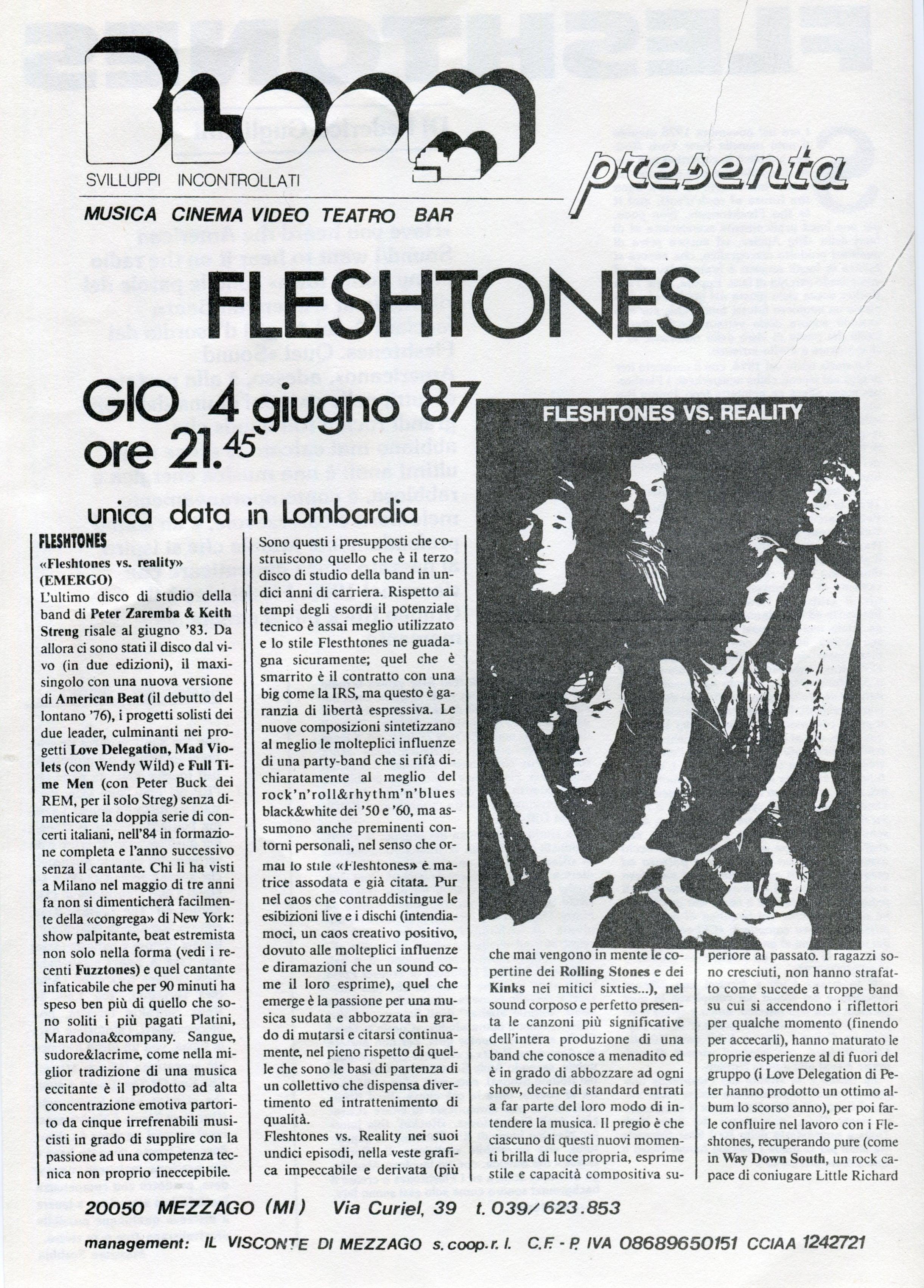Volantino fotocopiato che pubblicizza il concerto dei Fleshtones. 1987