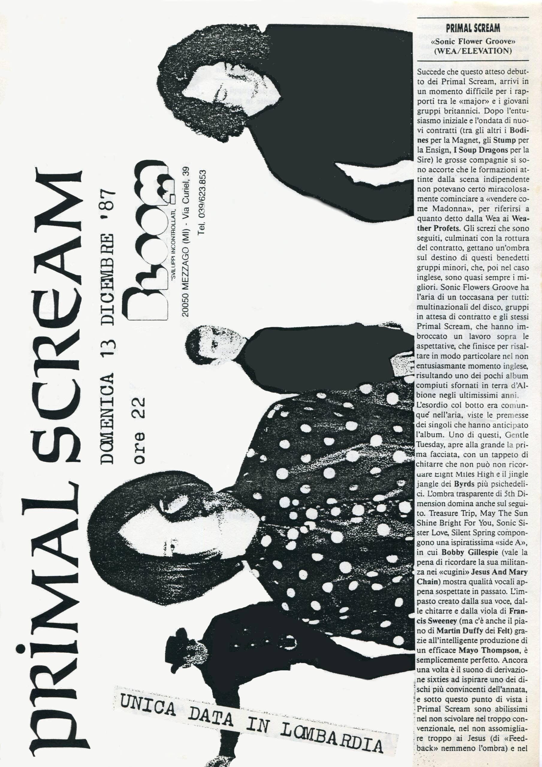Volantino fotocopiato dei Primal Scream. 1987 Primal Scream (28.1.90
