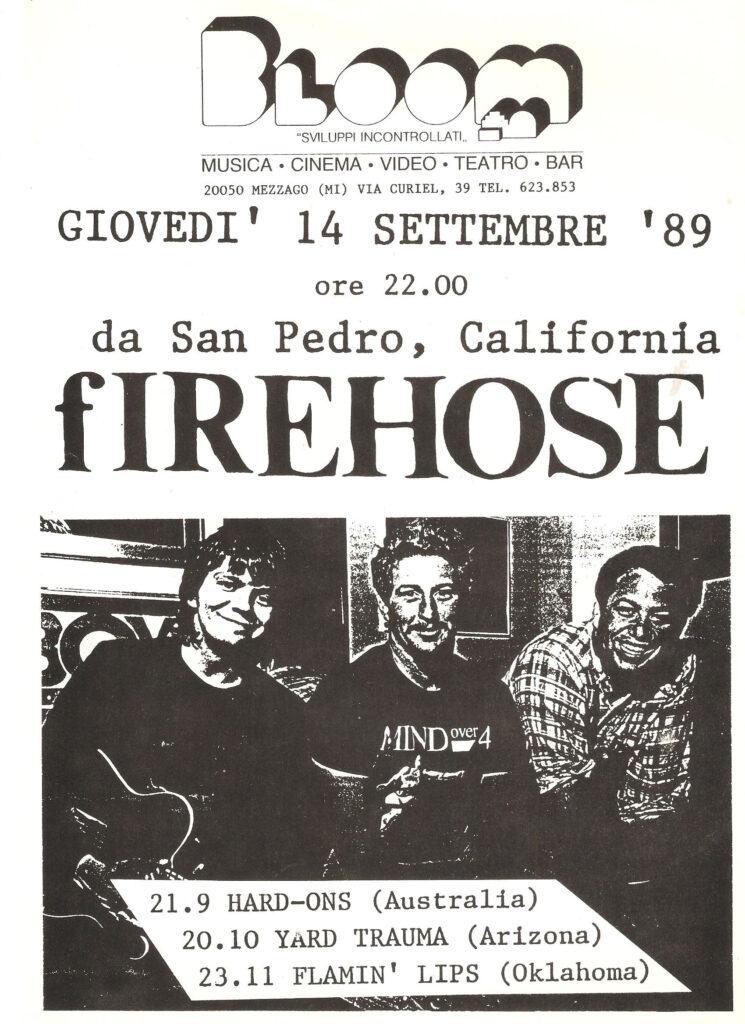 Volantino fotocopiato dei Firehose. 1989