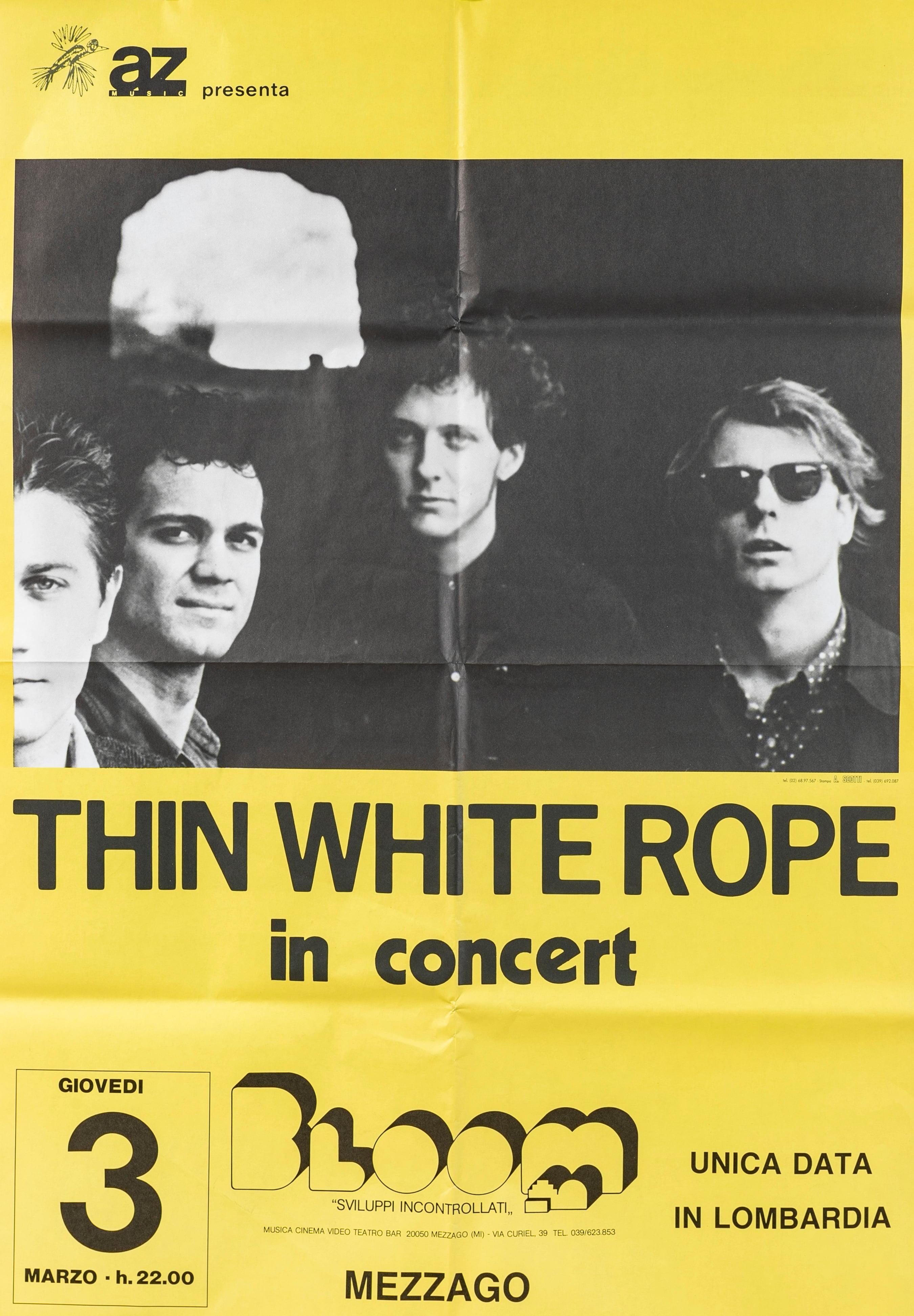 Manifesto 70x100 cm del concerto dei Thin White Rope. 1988