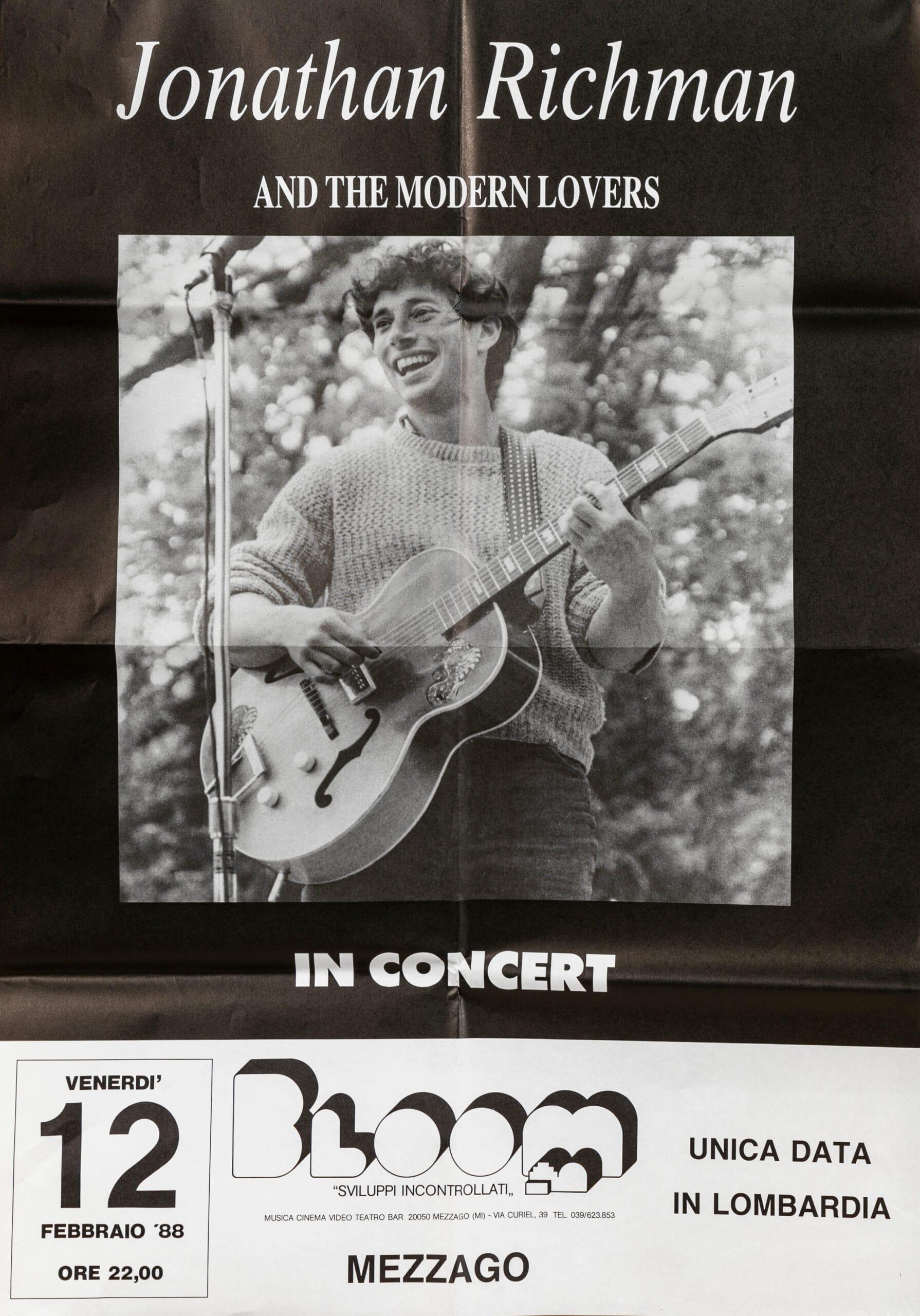 Manifesto per il concerto di Jonathan Richman con The modern lovers. Unica data in Lombardia.1988