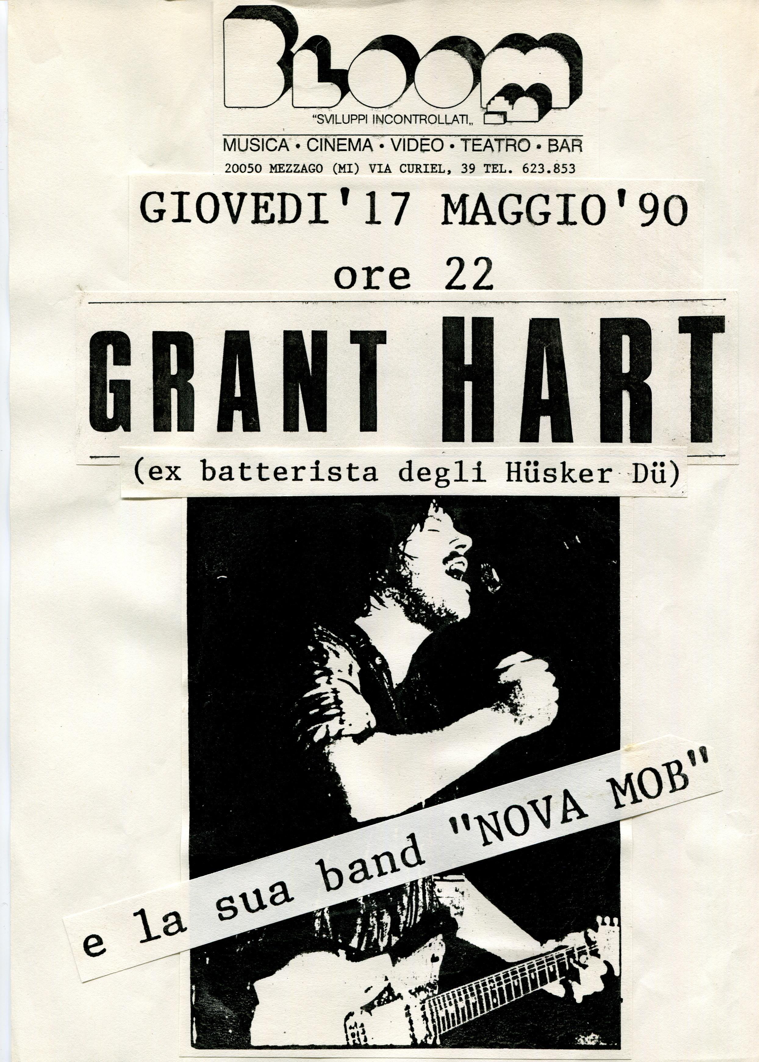 Volantino fotocopiato del concerto dei Grant Hart, con la sua nuova band Nova Mob. 1990