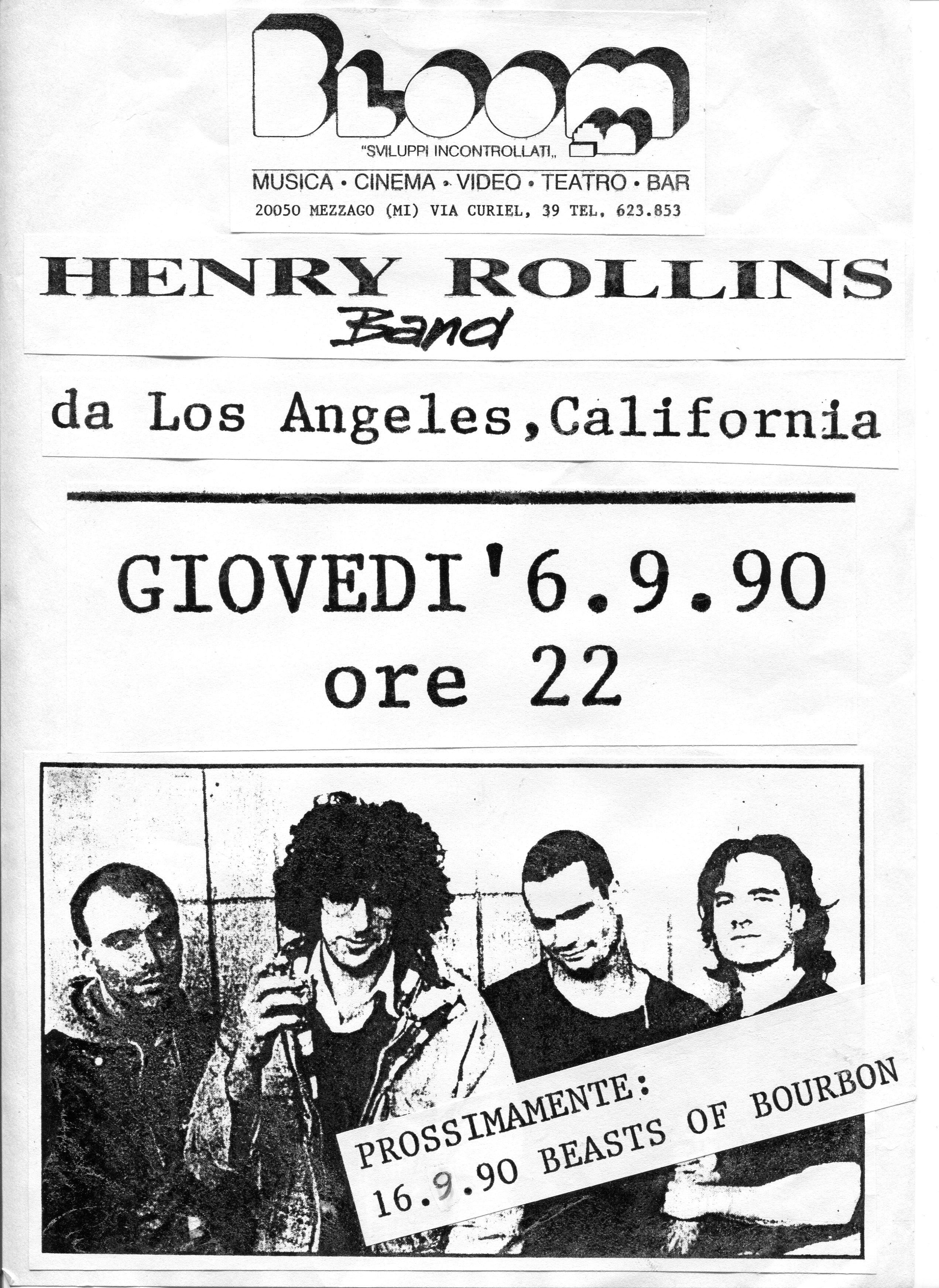 Volantino fotocopiato del concerto di Henry Rollins. 1990