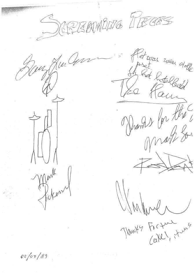 Autografi degli Screaming Trees. 1989