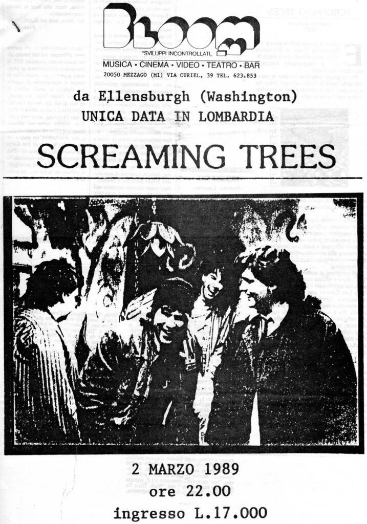 Volantino fotocopiato del concerto degli Screaming Trees. 1990