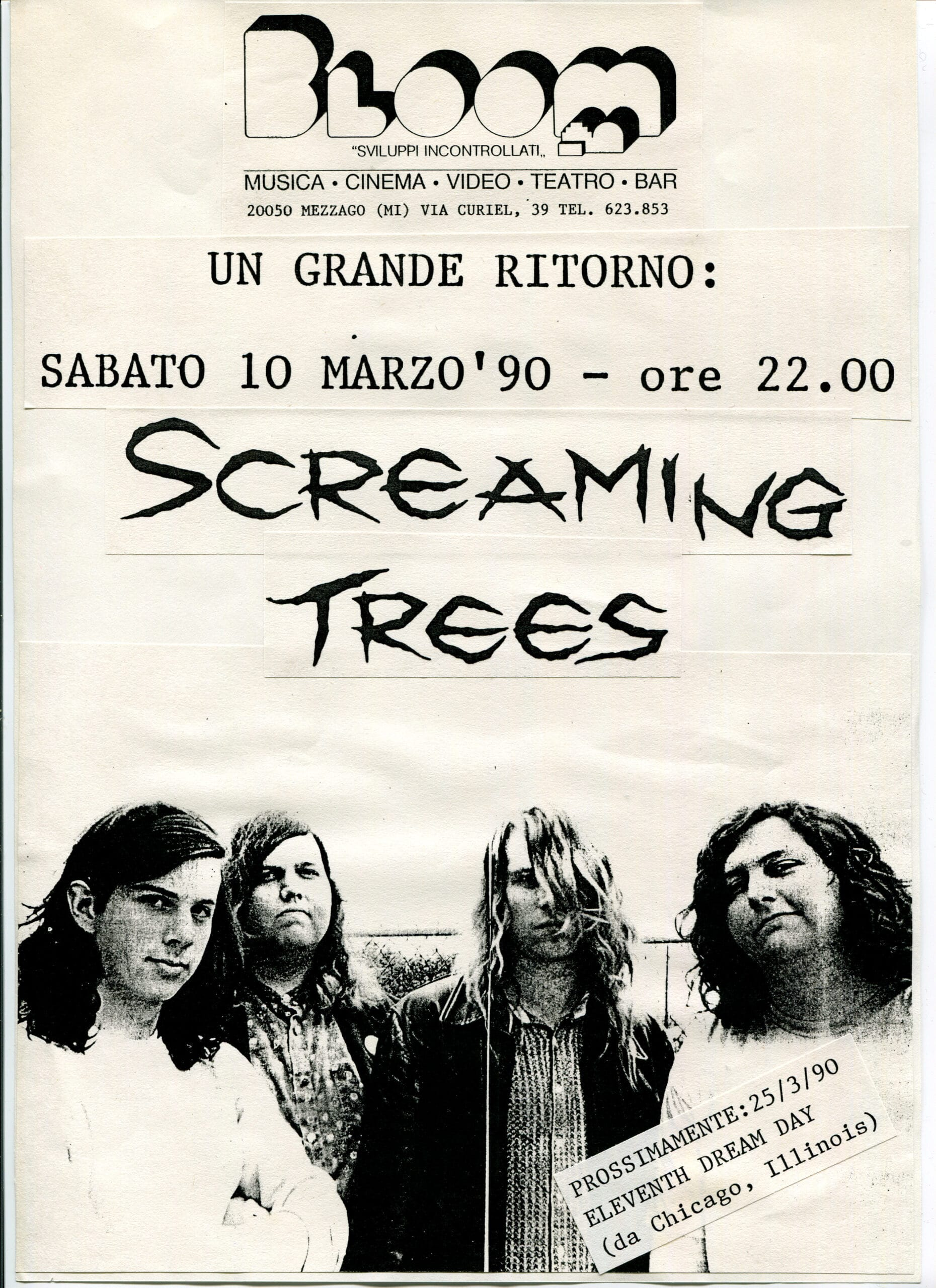 Volantino fotocopiato del concerto degli Screaming Trees. Unica data in Lombardia.1989