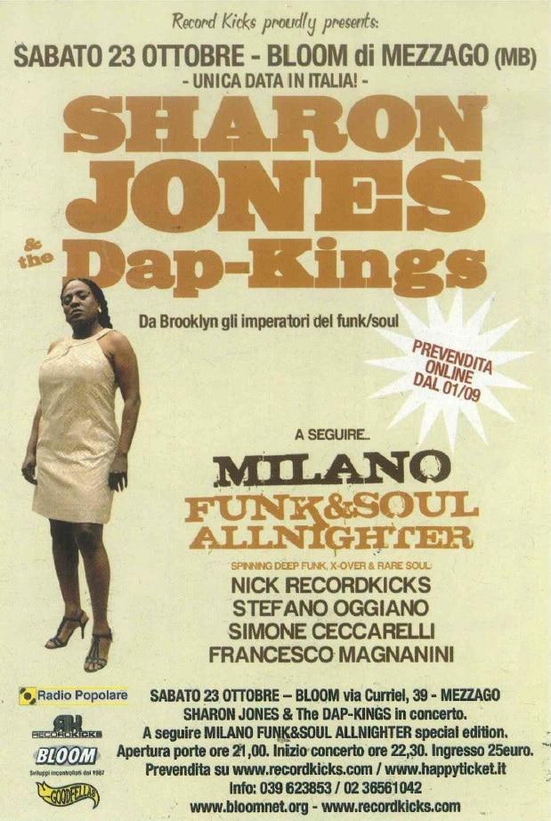Locandina del concerto di Sharon Jones and the Dap-Kings. 2010
