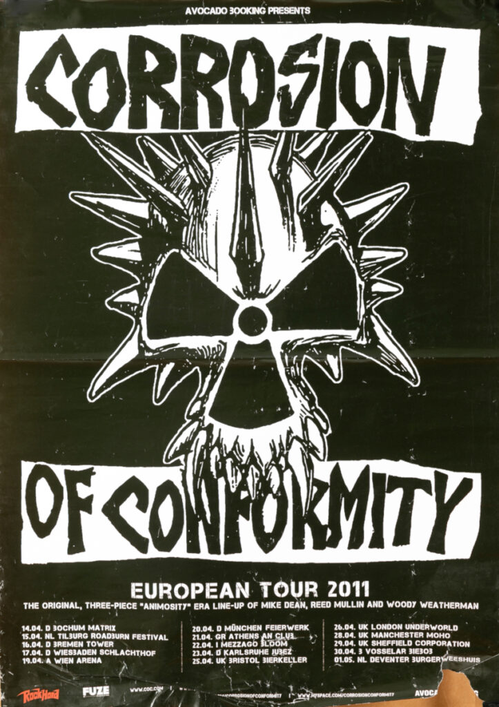 Manifesto del tour europeo dei Corrosion of Conformity. 2011