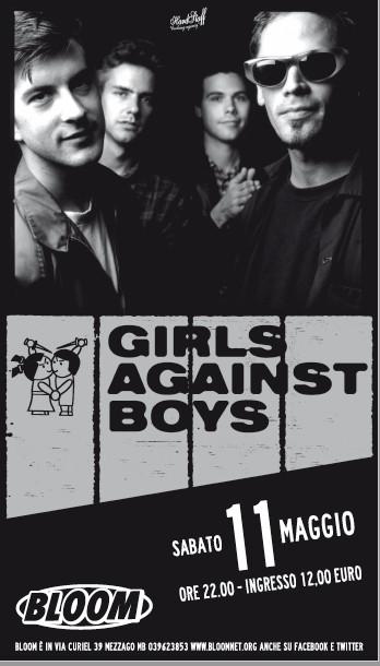 Locandina del concerto di Girls Against boys nel concerto per celebrare i 20 anni dell'album Venus Luxure No 1 Baby. 2013. La band di Washington è stata importante nel panorama mondiale post rock/punk, influenzando molti gruppi europei.