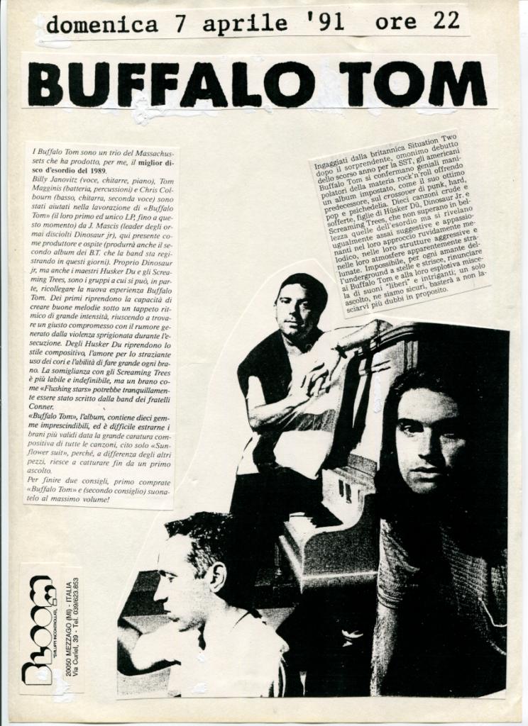 Volantino del concerto dei Buffalo Tom. 1991