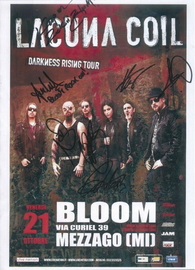 Manifesto autografato del concerto di Lacuna Coil nel Darkness Rising Tour. 2011