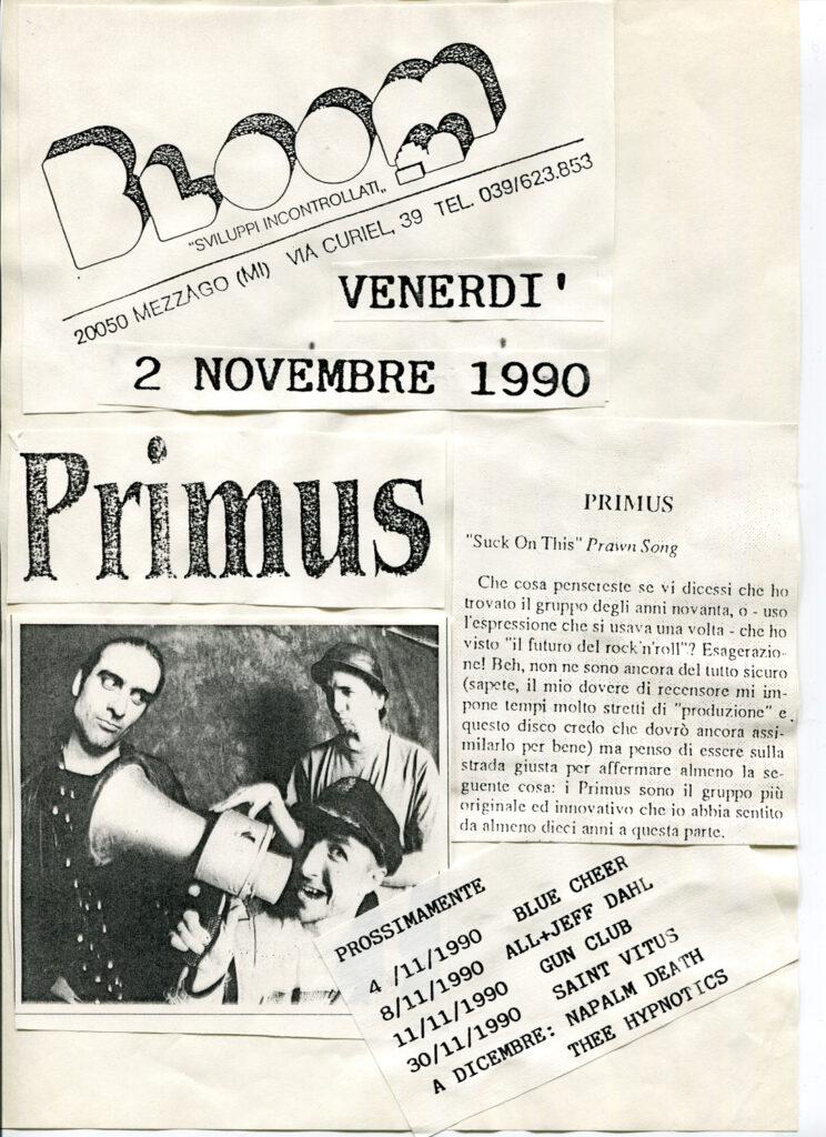 Volantino del grandissimo concerto dei Primus. 1990