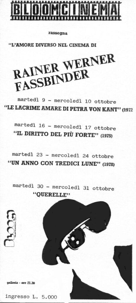 Flyer della rassegna dedicata a Rainer Werner Fassbinder. 1990