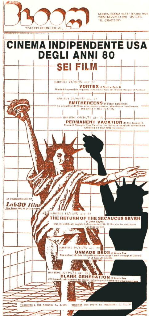 Locandina della rassegna di cinema indipendente USA degli anni '80. 1987