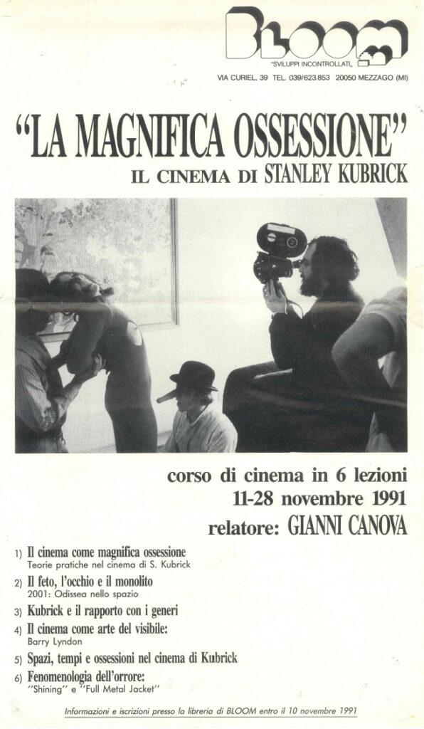 Locandina del corso di cinema dedicato a Stanley Kubrick con relatore Gianni Canova. 1991