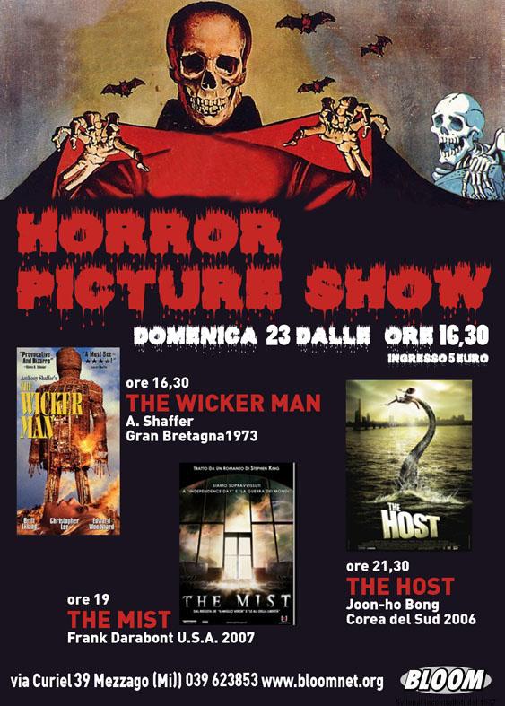 Volantino della rassegna Horror Picture Show, non-stop di film demenzial-horror. 1990