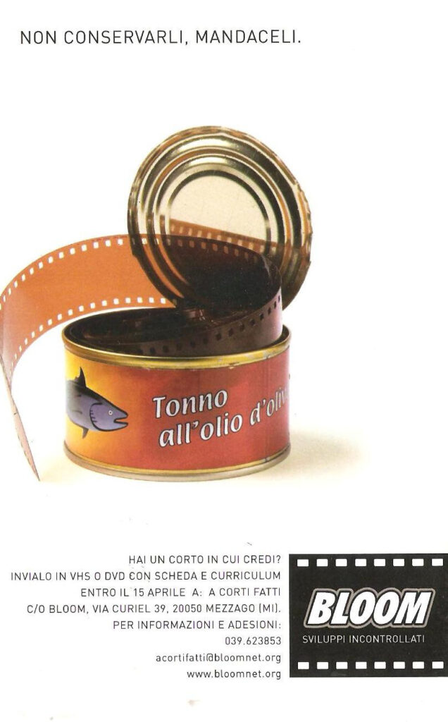 Flyer per la rassegna A corti fatti, contest per cortometraggi. 2003