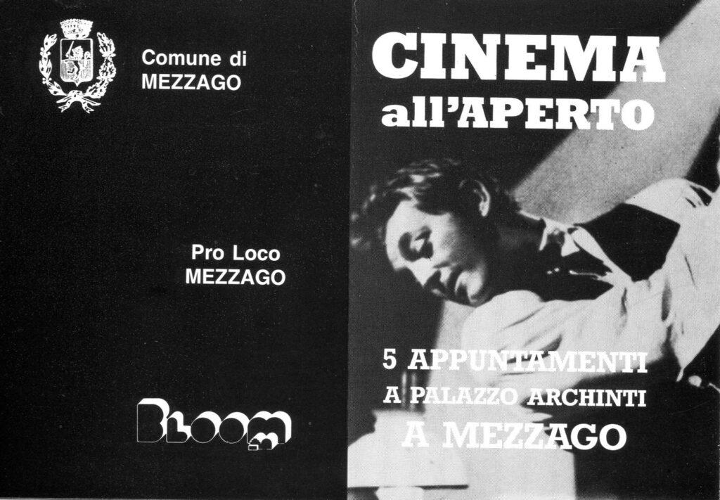 Flyer per la rassegna di cinema all'aperto a Mezzago. 1990