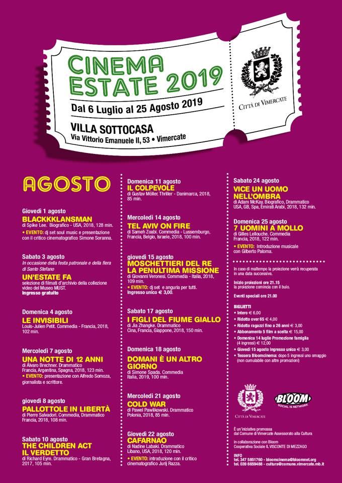 L'arena estiva a Villa Sottocasa a Vimercate. 2019
