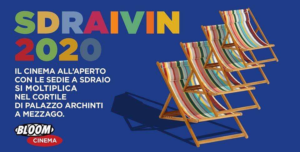 Flyer per la rassegna di cinema all'aperto Sdraivin. 2020