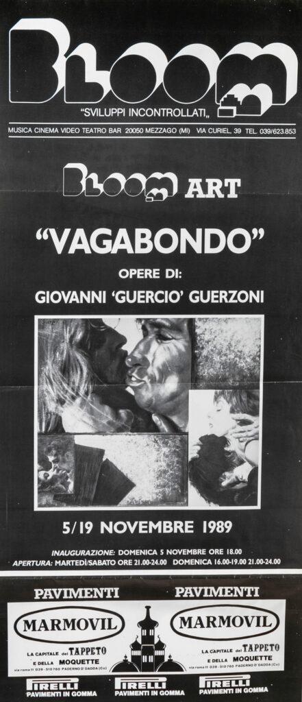 """Locandina della mostra Vagabondo di Giovanni """"Guercio"""" Guerzoni. 1989"""
