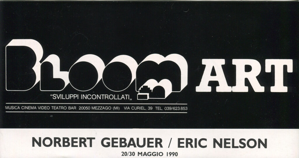 Volantino di presentazione della mostra di Norbert Gabauer ed Eric Nelson. Maggio 1990