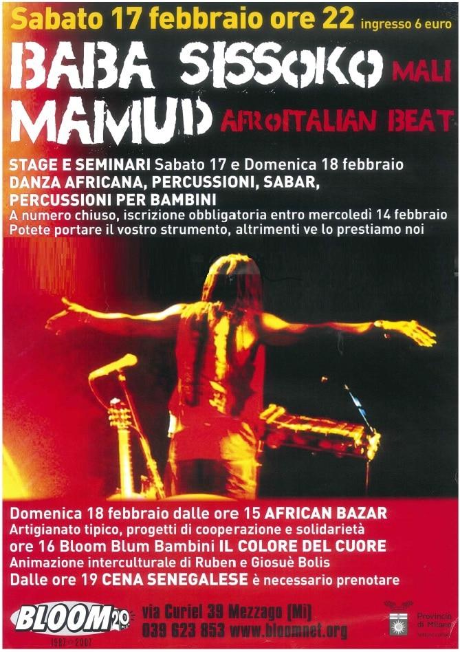 Flyer della rassegna Dada Africa, con concerti di Baba Sissok e di Mamud, stage, bazar e cena senegalese. 2007