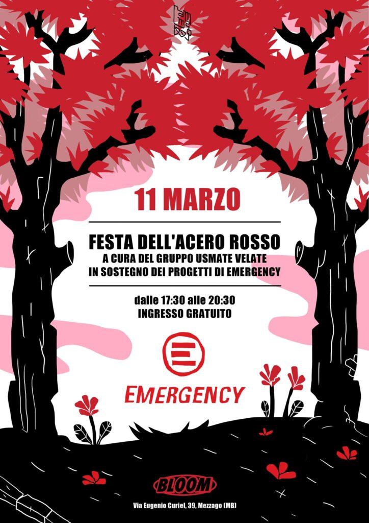 Flyer per una festa a sostegno di Emergency. Nel corso degli anni sono state numerose le iniziative realizzate per Emergency, tra le quali Emergency Day in ricordo di Teresa Santi Strada. 2018