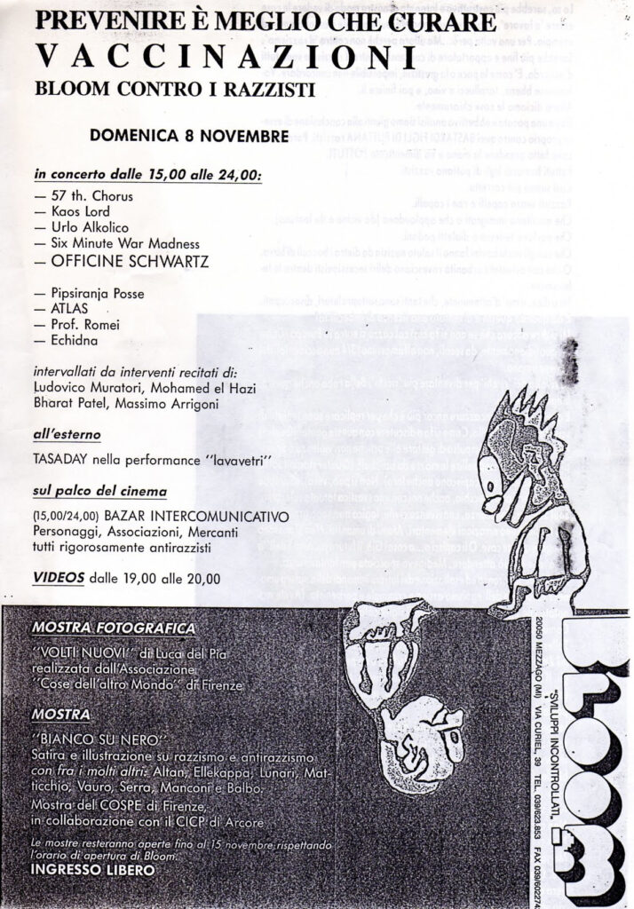 Volantino della giornata Vaccinazioni. Prevenire è meglio che curare (ovvero Bloom contro i razzisti). Musica, teatro, video e parole. 1992