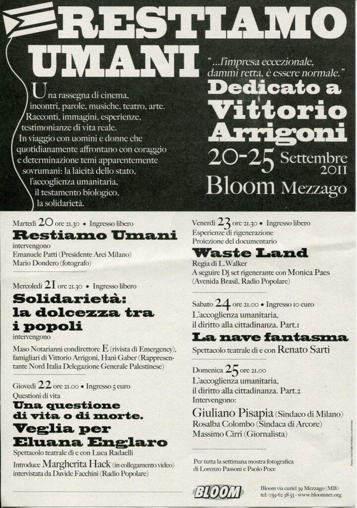 Flyer della rassegna Restiamo umani dedicatoa a Vittorio Arrigoni. 2011