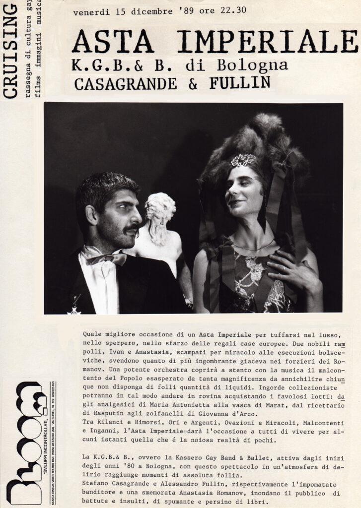 Volantino per lo spettacolo Asta imperiale del K.G.B.&B. di Bologna con Stefano Casagrande e Alessandro Fullin. 1989