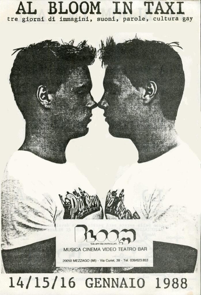 Locandina della rassegna di cultura gay Cruising. 1989. Spettacoli, dibattiti, festa e una mostra di manifesti del movimento di liberazione omosessuale in Italia.