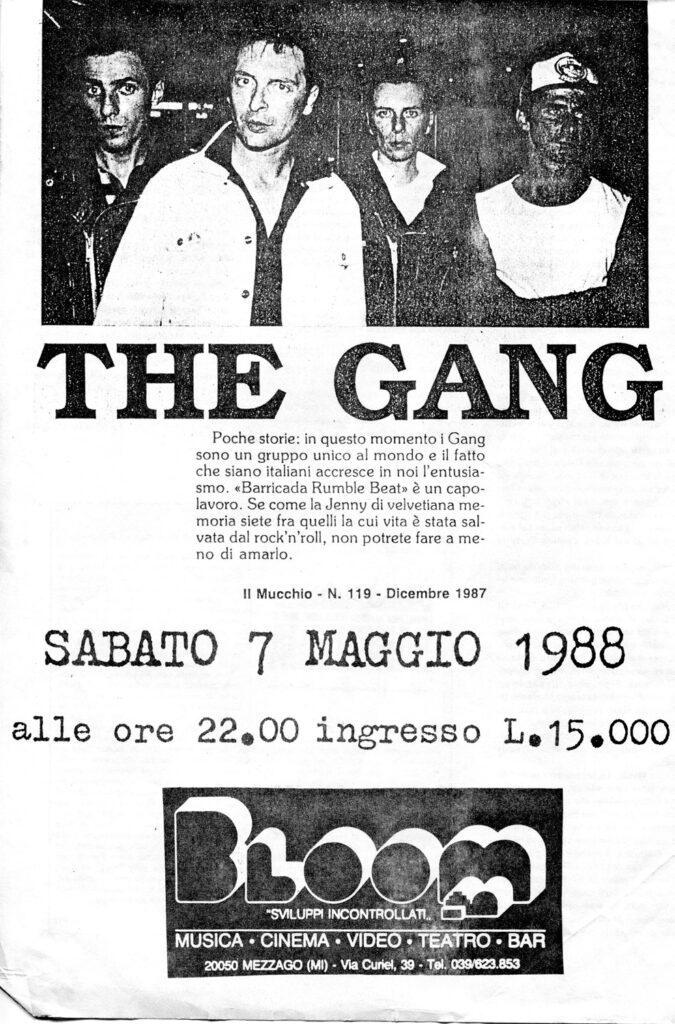 """Volantino del concerto di The Gang. 1988. """"I Clash italiani"""" hanno suonato in una rassegna contro l'apartheid in Sudafrica"""