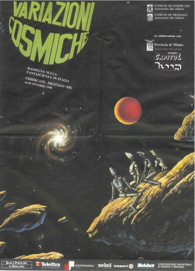 Manifesto di Variazioni cosmiche, rassegna sulla fantascienza italiana a cura di Antonio Caronia, con film, mostre e dibattiti. 1988