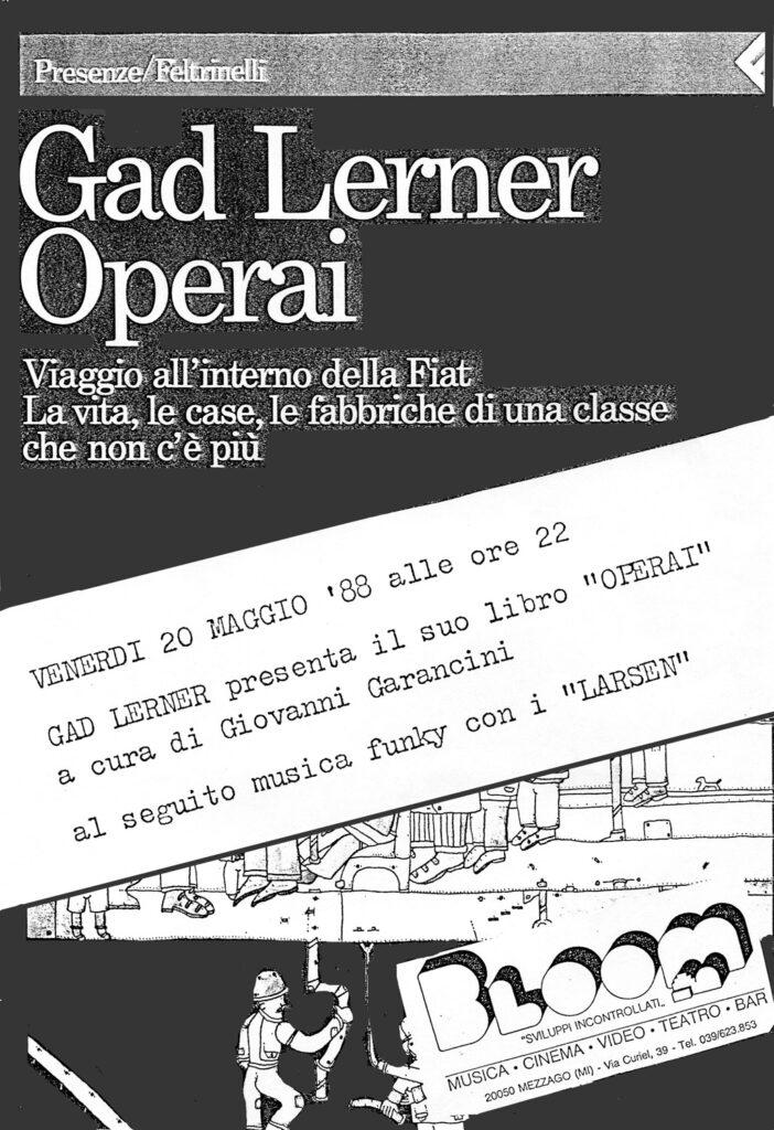 Volantino della presentazione del libro Operai di Gad Lerner. 1988
