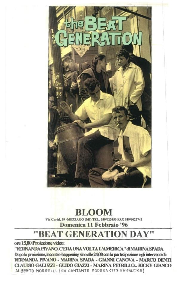 Locandina di un'iniziativa sulla Beat Generation con la partecipazione di Fernanda Pivano. 1996