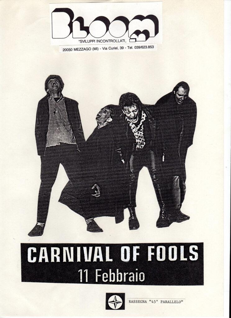 Volantino del concerto dei Carnival of Fools. 1990