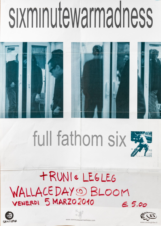 Manifesto per il concerto dei Six Minute War Madness. 2010. La band appena formata, con Paolo Cantù, socio della cooperativa e membro degli Afterhours, e Xabier Iriondo, anch'egli degli Afterhours, aveva suonato nel 1992.
