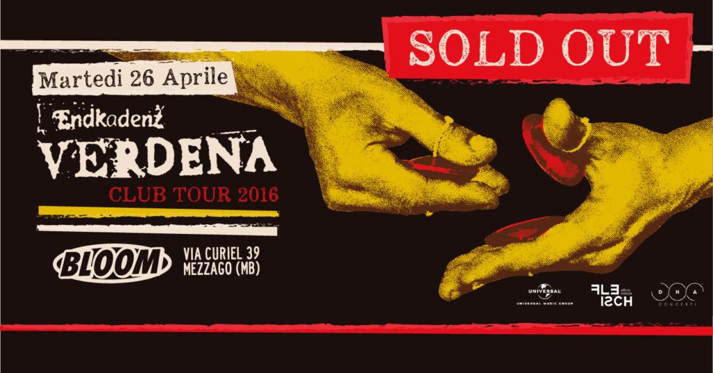 Flyer del concerto dei Verdena. 2016