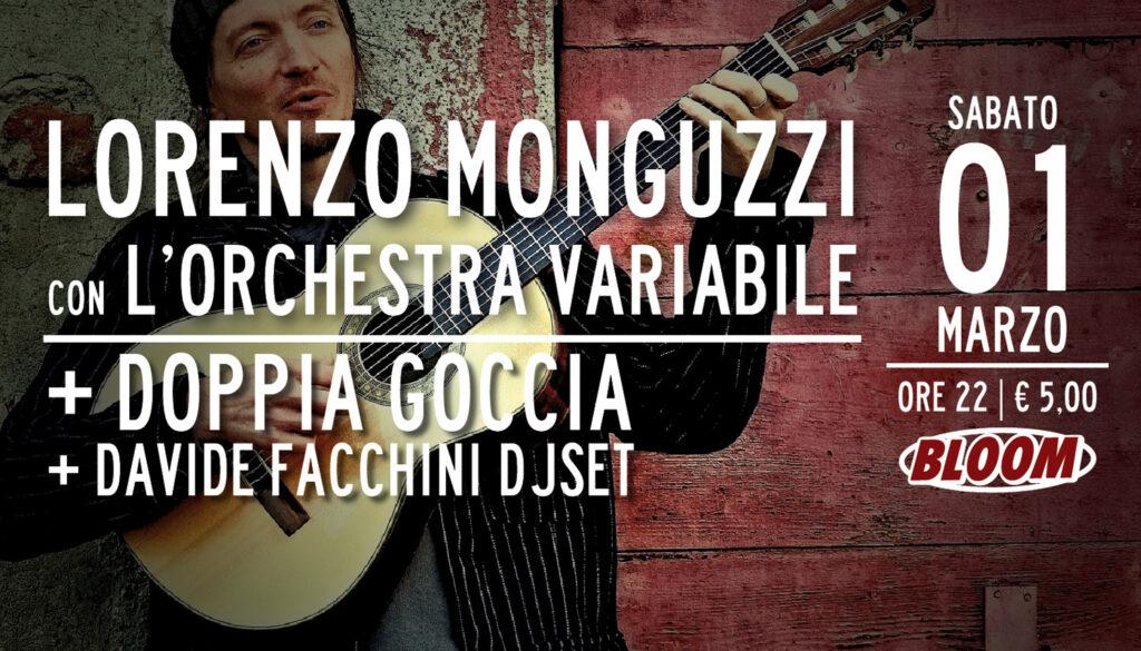 Flyer del concerto di Lorenzo Monguzzi con l'Orchestra Variabile, in una tappa del Portavèrta tour. 2014