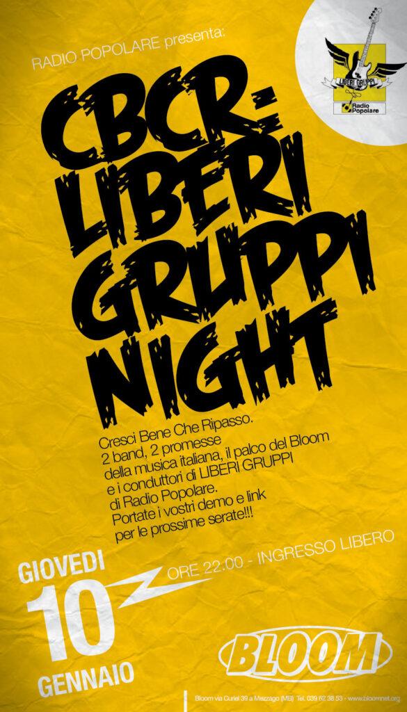 Flyer per i concerti di Liberi Gruppi, rassegna organizzata in collaborazione con Radio Popolare di Milano. 2001