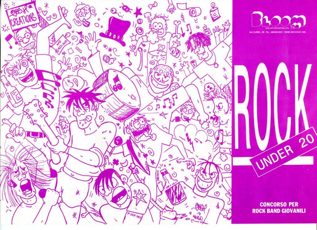 Flyer per il contest Rock under 20. Fine anni Novanta
