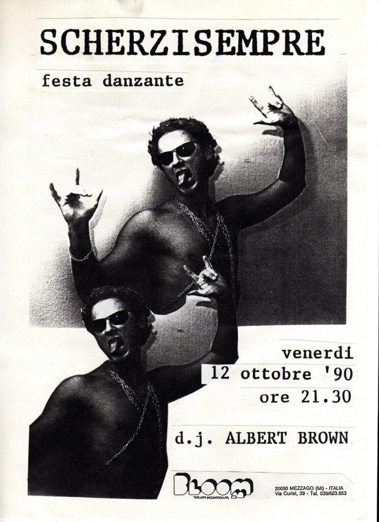 Volantino per la festa danzante Scherzi Sempre. 1990