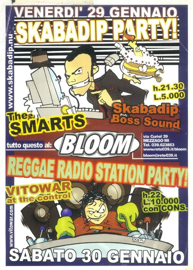 Flyer per Skabadip Party e Reggae Radio Station Party. 1999