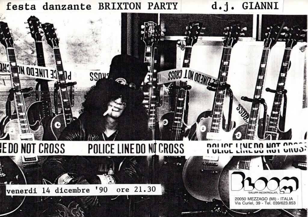 Volantino per la festa danzante Brixton Party. 1990